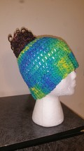 Yellow & Blue Mix Messy Bun Handmade Crochet Hat/Pony Tail Beanie - ₨1,155.96 INR