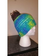 Yellow & Blue Mix Messy Bun HandmadeCrochet Hat/Pony Tail Beanie - $18.00