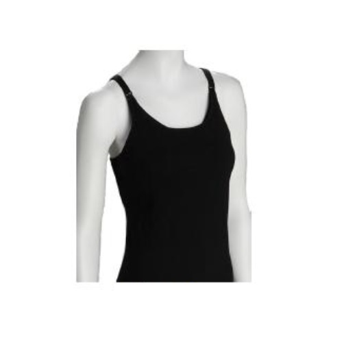 Dynabelly Cotton Maternity Nursing Tank with Built-in-Bra - Black