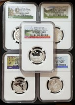 2019 S SILVER ATB 25C - 5 Coin PROOF PF70 SET First .999 Quarters SKU C45