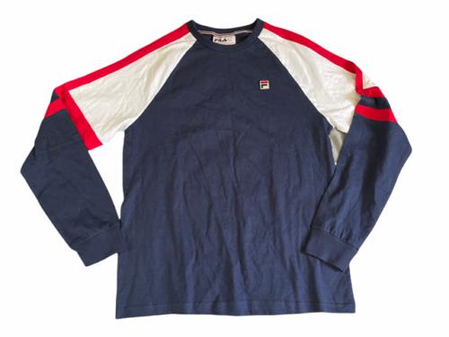 NWOT New Men Fila Navy Blue Athletic Long Sleeve Shirt Sz M Medium Cotton