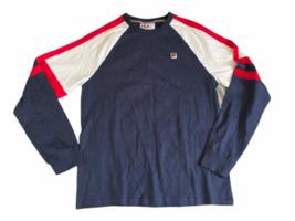 NWOT New Men Fila Navy Blue Athletic Long Sleeve Shirt Sz M Medium Cotton image 1