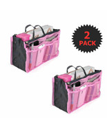 2 Pack Pink Cosmetic Bag Large Purse Organizer Inserts with zipper - $5.87