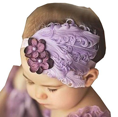 Beautiful Baby Headband Cute Feather Apparel Accessory Purple (2~4Y)