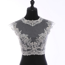 Illusion Neckline Lace Tank Tops Sleeveless Embroidery Lace Bridesmaid Tank Tops image 9