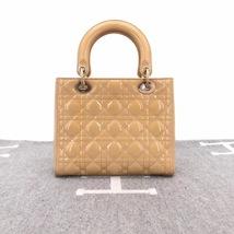 Authentic Christian Dior Lady Dior Medium Beige Patent Shoulder Tote Bag GHW image 2