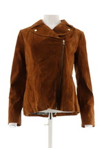 Isaac Mizrahi Suede Motorcycle Jacket Printed Lining Chestnut 16 NEW A29... - $83.14