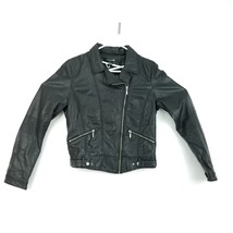 Forever 21 Motorcycle Jacket Black Cropped Faux Leather Women's Size L - $18.49
