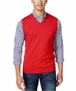 Club Room Men's Anthem Red Cotton Sleeveless V-Neck Vest Knit Sweater - $24.99