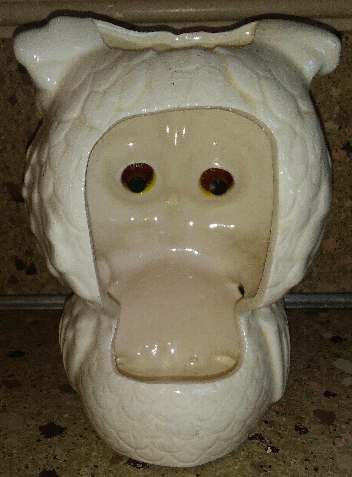Vintage Luv Owl Tea light Candle Holder White w Yellow Orange Eyes image 2