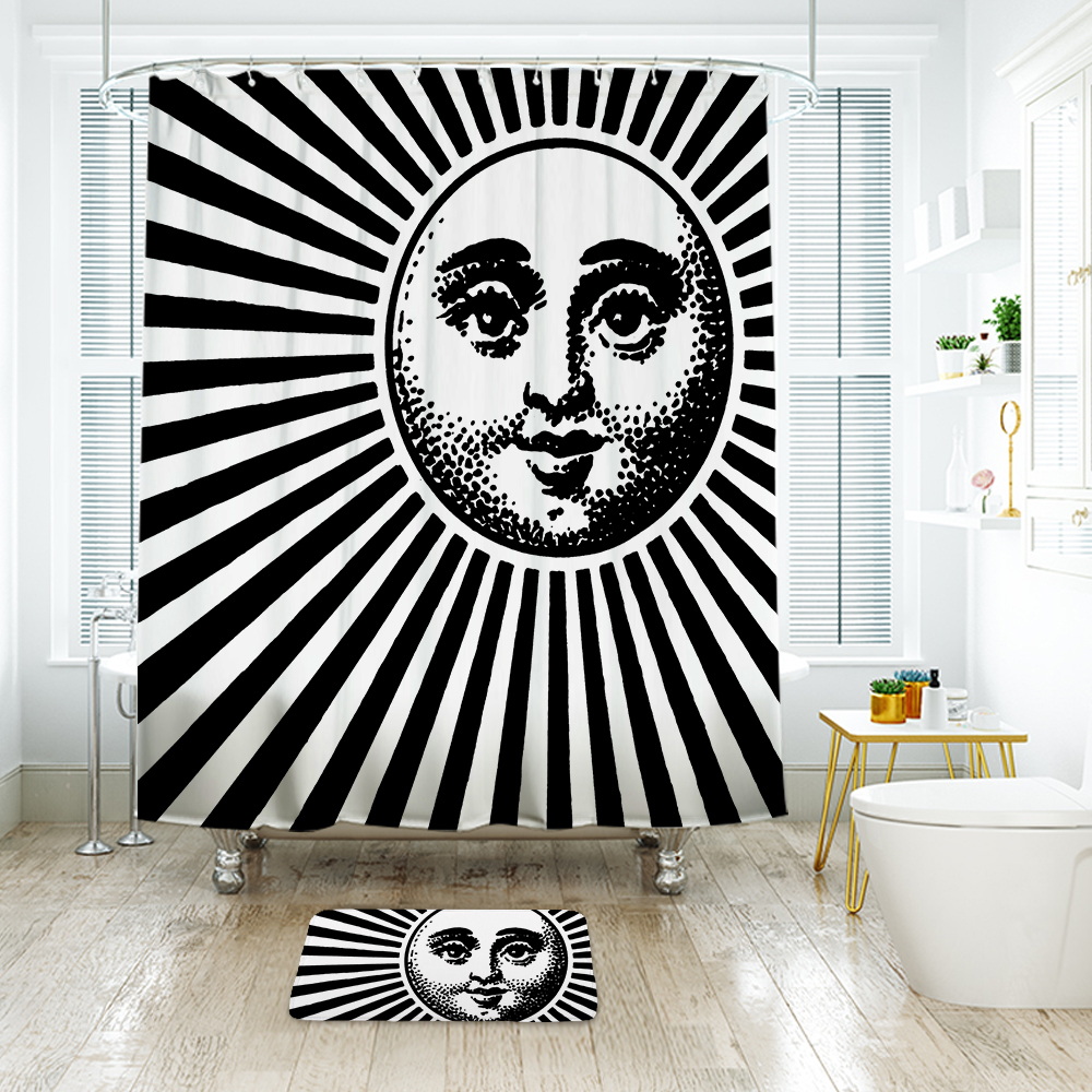 Sun Face Shower Curtain Waterproof Polyester Fabric & Bath Mat For Bathroom