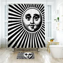 Sun Face Shower Curtain Waterproof Polyester Fabric & Bath Mat For Bathroom - $16.30+