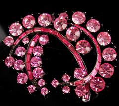 Large Pink Rhinestone Brooch - Sparkling spray lapel pin -- pink stateme... - $65.00