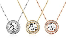 Halo Cluster Solitaire CZ Pendant Necklace 14K Rose Gold Plated Brass - $9.99