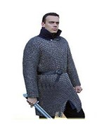 BLACK BUTTED CHAIN MAIL SHIRT EXTRA LARGE SIZE FULL SLEEVE MEDIEVAL MILD... - $183.15