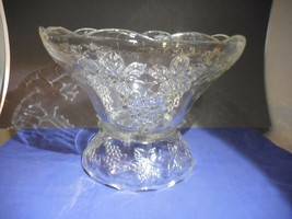 "Anchor Hocking Vintage Clear Punch Bowl and Stand Grapes 12 1/2""   Fan Star - $32.99"