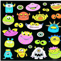 sheet of peel off stickers aliens large 28x22cm size ideal cards, papercraft,