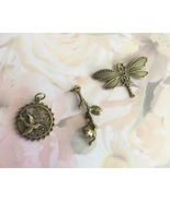 Brass Charm Lot of 3, Tree Branch, Dragonfly, Bird on Tree of Life, Beading - $6.50