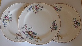3 Edwin Knowles Winslow Salad Plates Floral Rim Scalloped Gold Trim  - $29.69