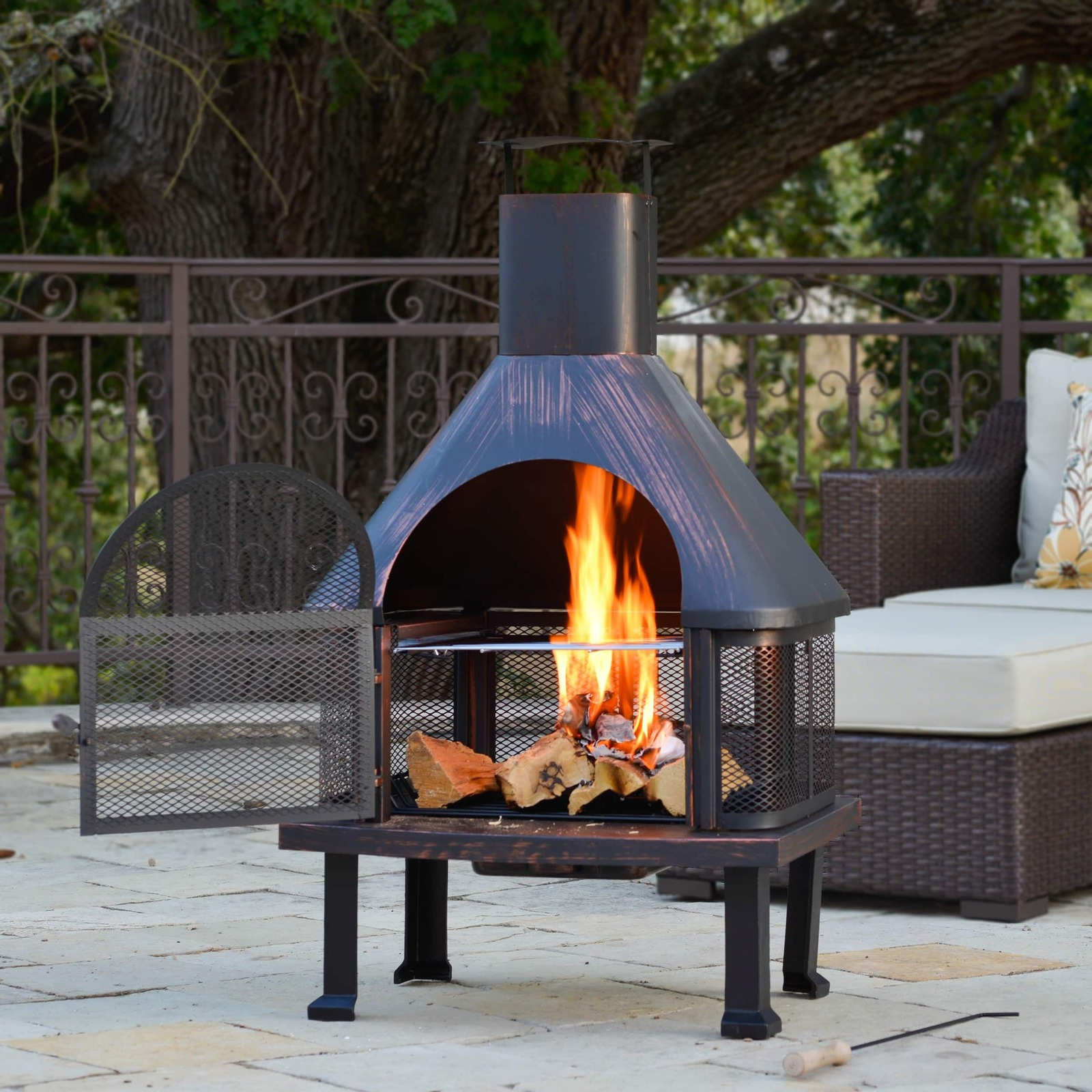 Outdoor Fire Pit Vintage Brushed Bronze Wood Decor Patio ... on Outdoor Fireplace Pit id=64724