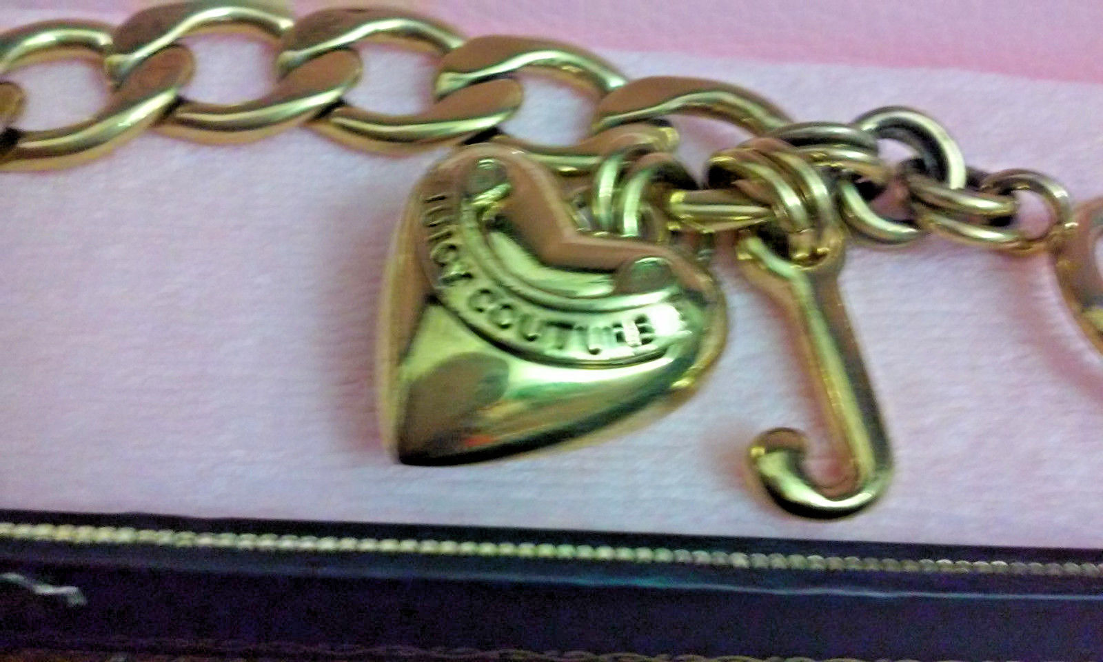 Juicy Couture Starter Charm Toggle Bracelet & Heart & J Charms Gold Tone in Box