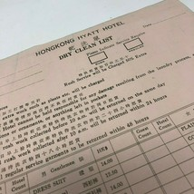 Hong Kong Hyatt Hotel vintage 1970s Dry Cleaning Form English Chinese - $12.50