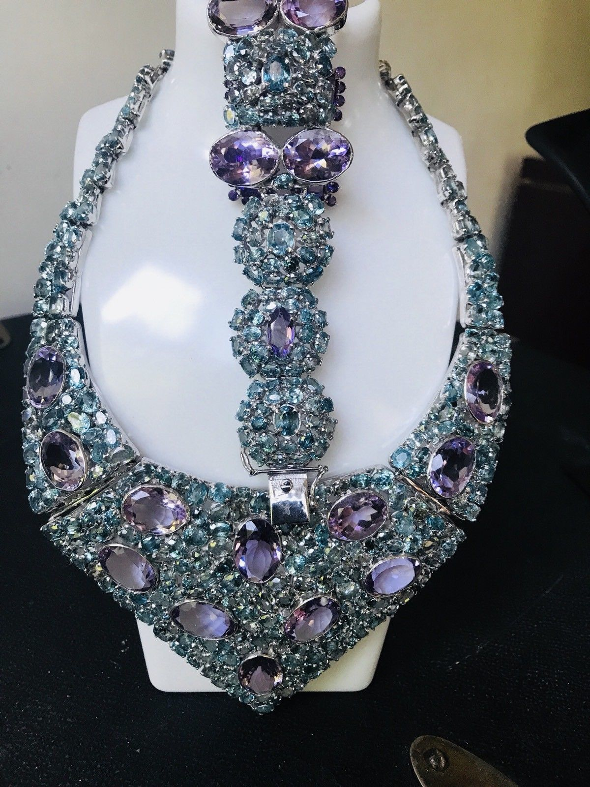 New Huge1000+ct Natural Amethyst Zircon SS necklace, bracelet,  earrings16.5 in