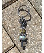 Handmade Keychain Key Yellow Blue Beads Rhinestones Seahorse Silver Plat... - $9.41