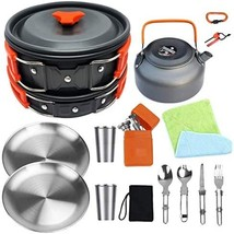Bisgear Camping Cookware 18/8 Plates Outdoor Stove Kettle Pot Pan Mess Kit Stain - $73.00