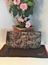Coach Madison Embossed Python Leather Wristlet Bag Clutch Large Brown Mu... - $116.09
