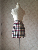 Red White Black Pleated Plaid Skirt School Style Short Pleated Plaid Skirts image 6