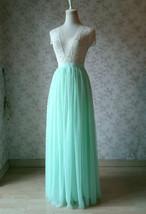 MINT GREEN Full Tulle Skirt Women High Waist Green Wedding Tulle Skirt Plus Size image 2
