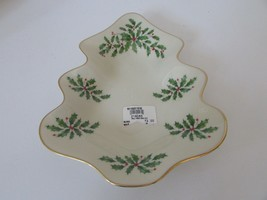 "LENOX BONE CHINA HOLIDAY TREE DISH 9""  RIMMED IN GOLD 4"" NEW HOLLY & BERRY - $18.76"