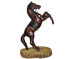 Handmade Leather Horse With Saddle Standing on Hind Legs Figurine on Woo... - $120.00