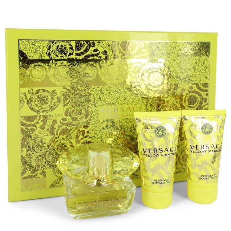 Versace Yellow Diamond EDT Spray 1.7 Oz + Body Lotion 1.7 Oz + Shower Gel 1.7 Oz