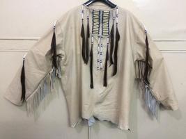 New Mens Native American Beige Buckskin Goat Leather Hippie War Shirt NA46 image 6