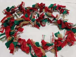 Christmas Woodland Red Green Rag Garland Decor 6FT - $18.99