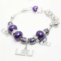 Inspired Silver Adjustable Louisiana State University Tigers Beaded Char... - $255,45 MXN