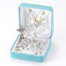 Sterling Silver Rosary made with Cube Shaped Swarovski Crystals - $140.60