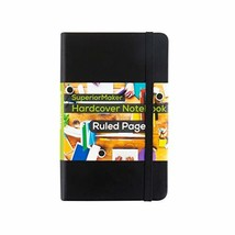 Small Pocket Notebook, Black Leather Bound, Hardcover Bound Many Page Jo... - $13.58