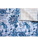Queen Size Double Bed size 90x108 Indian hand blocked Kantha Quilt Kanth... - $96.99+