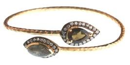 New Blossom Box Gold Labradorite & Smokey Topaz and CZ Bangle Bracelet NWT image 1