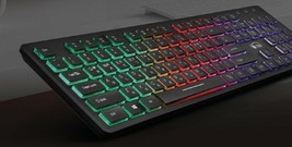 Zio Chocolate Korean English Keyboard USB Wired Membrane PC LED Backlight Keyboa image 2