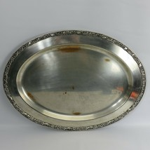 "silver plated antique serving tray 22x16  Wm Rogers & Son ""Victorian Ros... - $56.00"