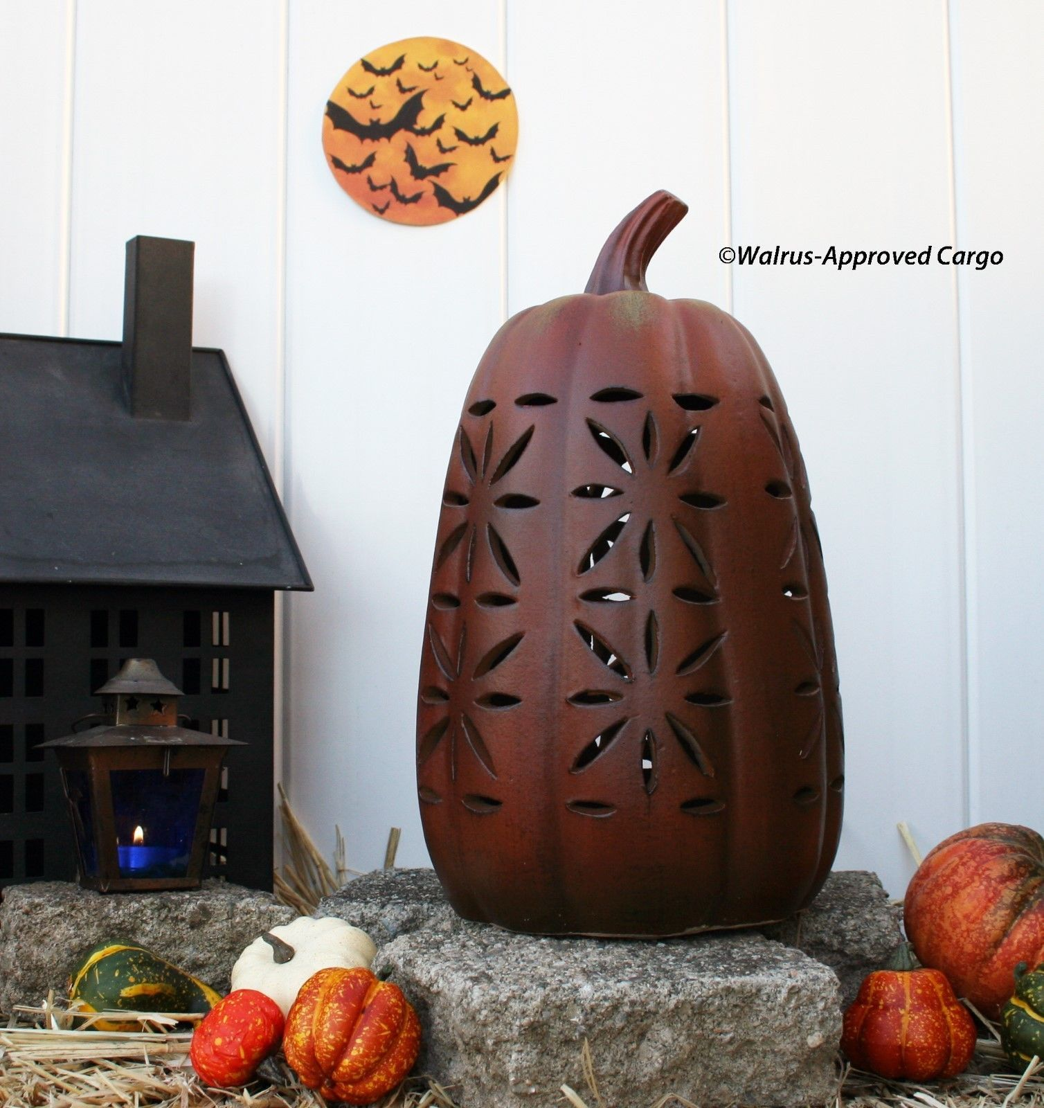 Primary image for POTTERY BARN TERRACOTTA PIERCED PUMPKIN (TALL) -NIB- CARVE OUT SOME FALL CHIC!
