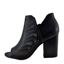 Soda Caster Black Women's Open Toe Perforated Stacked Bootie  - $31.95