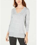 Maison Jules Women's Light Grey Fleck V Neck Tunic Sweater Size XS, M, X... - $10.99