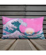 Vaporwave Pillow Kanagawa Great Wave Print Wave Off Kanagawa Vaporwave A... - $24.50