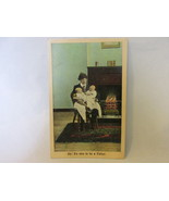 Antique Postcard, Man with Bad Hair Holding Twin Babies - Bamforth Publ... - $9.99