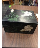 Wooden Trinket Box Hand Painted Enamel Vintage Black With White Flowers - $25.05